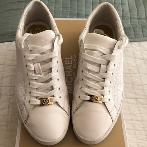 Michael Kors White Embossed Leather Tennis Shoe 7